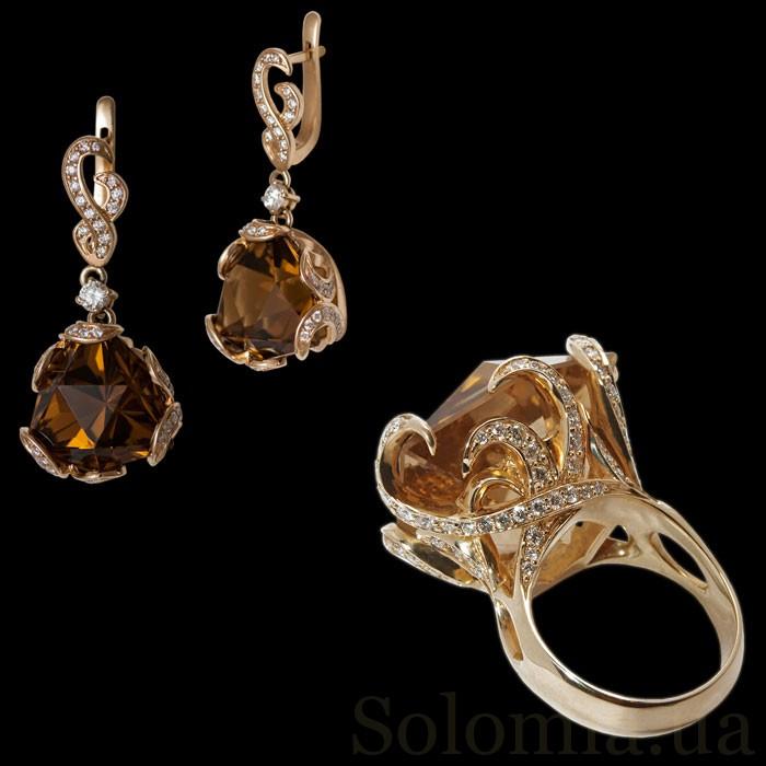 золотой серьги с бриллиантами